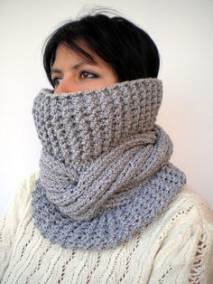 Items similar to Grey Tour Fashion Cowl Super Soft Wool Neckwarmer Unisex Chunky Cabled Cowl on Etsy Knit Cowl, Cowl Scarf, Crochet Woman, Knit Crochet, Crochet Wedding, Grey Scarf, Cardigans For Women, Lana, Hand Knitting