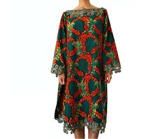 French Vintage African Print Embroidered Tunic / Dress by bOmode