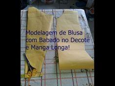 Modelagem de Blusa com Babado no Decote e Manga Longa...