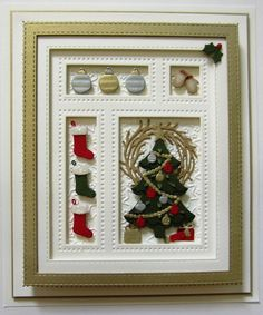 Sue Wilson Designs - Die - Festive Collection - Christmas Shadow Box-Set of 22 dies. sizes: Frame measures 4 x Christmas tree: Christmas Shadow Boxes, Diy Christmas Cards, Xmas Cards, Christmas Projects, Handmade Christmas, Holiday Cards, Christmas Ideas, Christmas Bows, Christmas Scrapbook