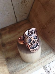 Sugar Skull Ring in Sterling Silver or Copper or by sprout1world