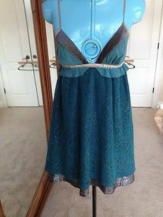 Free People Gorgeous Lace Size 2 Unique Hippie Boho Teal Dress
