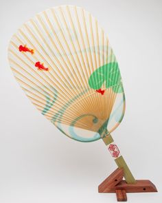 家田紙工 水うちわ(金魚) /台座付 Japanese round fan