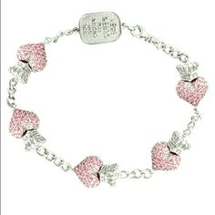 """KING BABY PINK PAVE CZ CROWNED HEART BRACELET Pave pink CZ .925 sterling silver Hearts measure Height: 2/3"""" Width: 1/3"""" Depth: 1/4"""" Handmade In USA King Baby Jewelry Bracelets"""