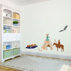Native American Indian Patterned Tepee Wall Decal by danadecals. Indian Theme, Indian Boy, Animal Wall Decals, Vinyl Wall Decals, Native American Nursery, Nursery Patterns, Nursery Decor, Nursery Ideas, Bedroom Ideas