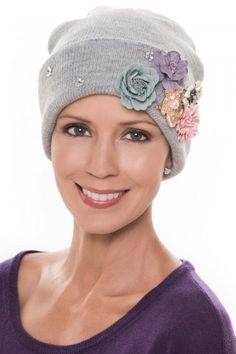 This beanie cap features flowers and sparkly embellishments that add gorgeous texture, bling, and color to any look. Scarf Hat, Beanie Hats, Beanies, Hats For Cancer Patients, Fascinator Hats, Fascinators, Bonnet Hat, Fabric Flowers, Hats For Women