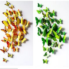 Горячие Продажи 3D Бабочки Стены Decals12pcs 6big 6 небольших ПВХ 3D Бабочки Стикер Стены для Украшения Дома