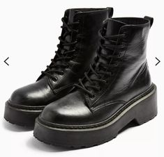 AUSTIN Black Leather Chunky Lace Up