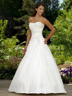 A-Line White/Ivory Taffeta Wedding Dress Bridal Gown Size:6 8 10 12 14 16 18
