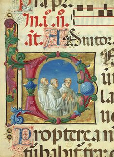 Leaf from a Psalter: Initial D with Monks Singing, ca. 1495  Girolamo Dai Libri (Italian, Veronese, ca. 1474/75–1555)  Italian; from the Olivetan monastery of Santa Maria in Organa, Verona  Tempera and gold leaf on parchment
