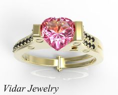 Pink Sapphire Heart Shape Handcuff Engagement by Vidarjewelry, $2445.00