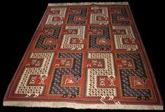 Karabagh Verneh or Verni with large 'Z' dragon motifs, Caucasian Karabagh Verneh Flatwoven rugs