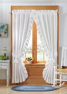 LED Lighted Fall Floral Garland. Ruffle CurtainsBedroom CurtainsWhite  CurtainsPriscilla CurtainsCountry ...