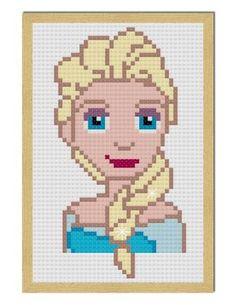 queen elsa free mini cross stitch pattern-craftyguild.com