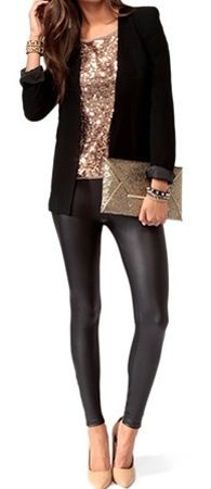 NYE: love everything about this outfit. Love the leather leggings and the slash of gold with the black blazer. I even love the clutch! But not the heels, too high for me, need flats