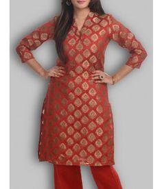 Banarasi Chanderi Brocade Red Kurti in Booti Weaves