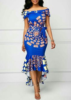 African Print Dress Printed Belted Off the Shoulder Mermaid Dress African Fashion Designers, Latest African Fashion Dresses, African Dresses For Women, African Print Fashion, Africa Fashion, African Attire, African Wear, African Print Dresses, African Women