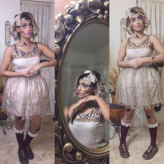 Broken Doll Costume #makeup #facepaint Broken Doll Halloween Costume, Creepy Doll Costume, Creepy Doll Makeup, Broken Doll Makeup, Eve Costume, Animal Halloween Costumes, Costume Makeup, Halloween Makeup, Costume Ideas