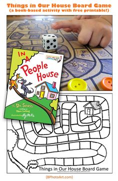 Free printable board game for kids based on In A People House by Dr. Seuss! customize it for your kids!