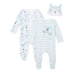 bluezoo Pack of two babies green monkey sleepsuits with hat- at Debenhams.com