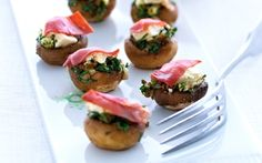 Fyldte champignoner Virkelig lækkert til tapas :)