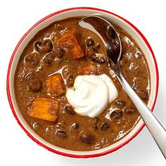 This recipe for hearty Sweet Potato & Black Bean Soup is a twist on traditional black bean soup. Just add chunks of roasted sweet potatoes and top with plain nonfat Greet Yogurt for a fresh new dinner. (via RachaelRayMag.com)  --  No I haven't tried it yet but it sounds healthy AND tasty!