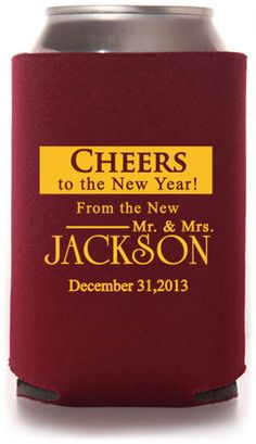 Love the phrasing for our koozies, but with a different design! Winter Wedding Can Coolers #winter #koozies