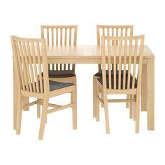 BJURSTA / NORRNÄS Asztal és 4 szék IKEA Nagyobbítható asztal, 2 extra lehajtható lappal, 4-8 fő részére; igény szerint állítható asztalméret.