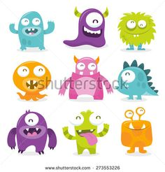 Vector illustration of nine monsters with toothy grins.   - stock vector