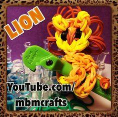 Rainbow loom lion pencil hugger