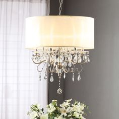 TRIBECCA HOME Silver Mist Hanging Crystal Drum Shade Chandelier - Overstock™ Shopping - Great Deals on Tribecca Home Chandeliers & Pendants