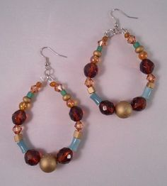 Multicolor Glass Bead Hoops