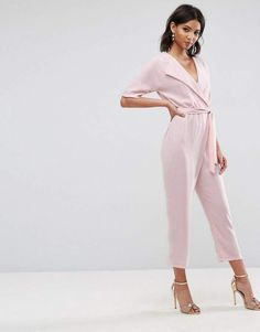 708f1cf85bf SHOP  Women s fashion  outfits  what to wear on a night out  club wear   evening wear  glam wear  fashionistas  summer 2018 fashion  ASOS Wrap  Jumpsuit with ...