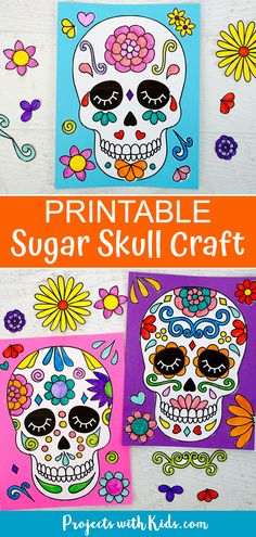 Make this easy colorful sugar skull craft with kids and learn about the Day of the Dead. Three different printable options make this paper craft perfect for kids of all ages!