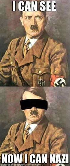 Hitler puns are the best puns. Hitler Jokes, Corny Jokes, Stupid Jokes, Laughing So Hard, I Laughed, Laughter, Funny Pictures, Funny Pics, Hilarious Pictures