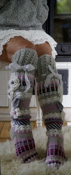 Thigh High Socks, Thigh Highs, Leg Warmers, Thighs, Legs, Knitting Ideas, Ankle, Flower, Fashion