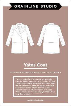 Grainline Studio - Yates Coat - Dragonfly Fabrics Dressmaking Supplies