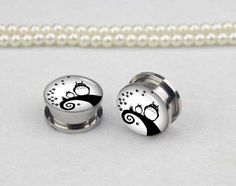 Pairs  Tototo with tree  plugs gauges  plugs   , Stainless Steel Flesh Tunnel Ear Plugs, Screw Body Piercing Jewelry, Ear Expander,