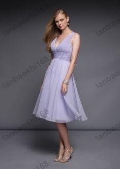 New Hight Quality V-neck Tea-Length Bridesmaid Dresses LFC597