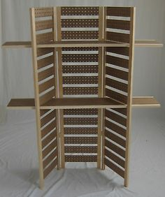 """Pegboard Display 58""""T w 2 Long Shelves Folds Flat 