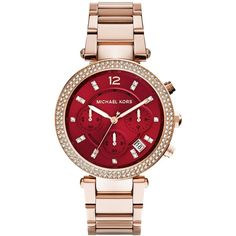 Michael Kors Women's Chronograph Parker Rose Gold-Tone Stainless Steel... (€230) ❤ liked on Polyvore featuring jewelry, watches, bracelets, sparkly watches, stainless steel wrist watch, bracelet watch, stainless steel jewelry and chronos watch