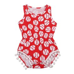 Red Baseball Girl Romper  Soft and Comfortable Baby & Toddler Clothing!