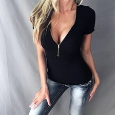 270895d5152 Rambling New Womens Deep V Neck Shirt Bodycon Zipper Tight Pullover Short Sleeve  Blouse Tops