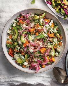 May 2020 - Roasted sweet potato, tangy feta and crunchy chickpeas combine in this knockout veggie salad. Drizzle over the dreamy tahini dressing for extra richness! Pasta Salad Recipes, Healthy Salad Recipes, Veggie Recipes, Whole Food Recipes, Vegetarian Recipes, Cooking Recipes, Greek Recipes, Recipes With Tahini, Chickpea Feta Salad