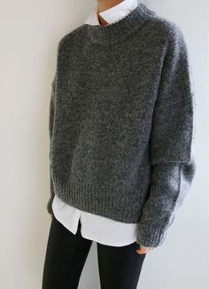 TOP: white button down + gray heavy sweater PANTS: black skinny jeans SHOES: black ankle boots
