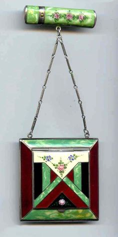 Art Deco Compact and Lipstick Case