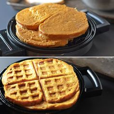 What's for breakfast? Pumpkin French Toast Waffles.