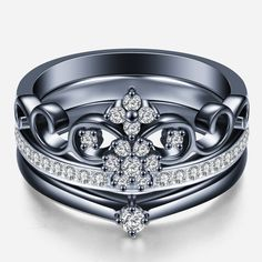 Crown Shape Black Gold-plated Sterling Silver Engagement Ring Set