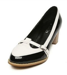Black Pretty Block Flat Heel Shoes with Cute Buckle-pin Design