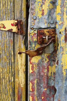 red/gray/yellow/blue: Old paint and rust. Photo by John Schneider The bright striking colours of the door create a more vibrant image. Unity has been achieved by the repetition of warm and cool colours throughout the image Art Texture, Rust Never Sleeps, Rust In Peace, Rusted Metal, Peeling Paint, Inspiration Art, Old Doors, Mellow Yellow, Gray Yellow